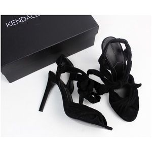 Kendall & Kylie Knotted Ghille Open Toe Suede Heel